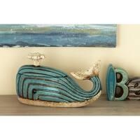 Studio 350 Ceramic Whale Jar 12 inches wide, 7 inches high