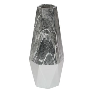 Studio 350 Ceramic Grey Marble Vase 7 inches wide, 18 inches high