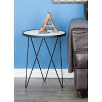 Studio 350 Metal Marble Agate Accent Table 17 inches wide, 22 inches high
