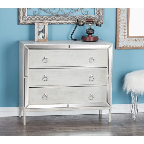 Contemporary 32 x 35 Inch Wood and Mirror Chest by Studio 350