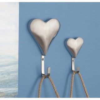 Studio 350 Stainless Steel Heart Wall Hook Set of 2, 6 inches, 9 inches high