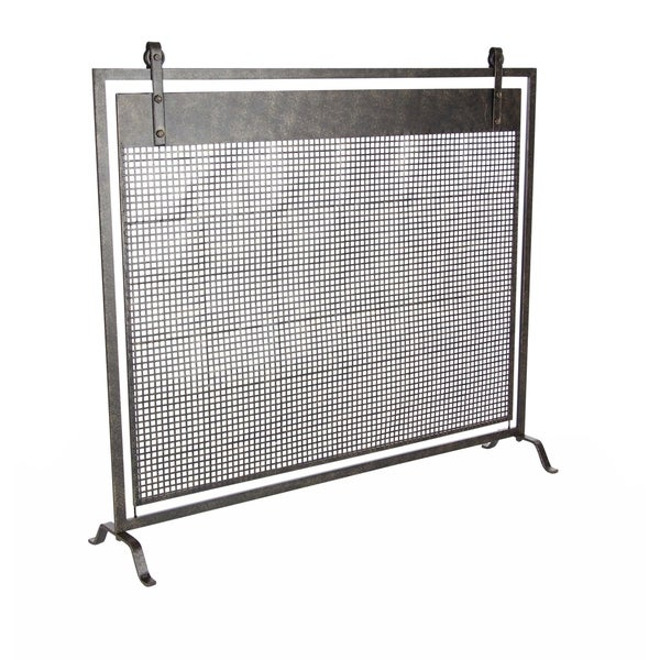 Contemporary 35 X 38 Inch Iron Mesh Fireplace Screen by Studio 350