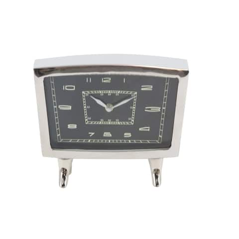 Strick & Bolton John Stainless Steel Table Clock 8 inches wide, 7 inches high