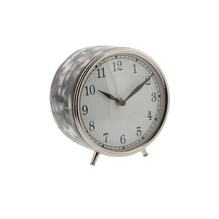 Clay Alder Home Waccamaw Stainless Steel Inlay Table Clock (5 inches wide, 6 inches high)