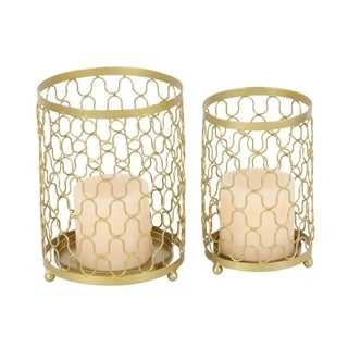 Studio 350 Metal Gold Candle Holder Set of 2, 9 inches, 10 inches high