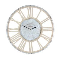 Oliver & James Buri Round Metal and Wood Wall Clock