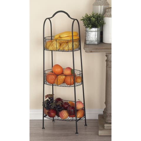 Farmhouse 41 x 15 Inch 3-Tiered Metal Basket Rack by Studio 350