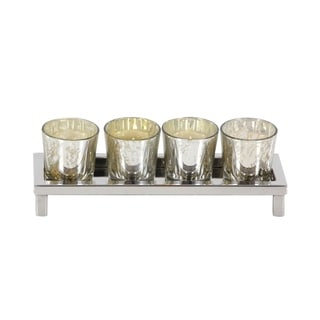 Studio 350 Stainless Steel Glass Votive Holder 10 inches wide, 3 inches high