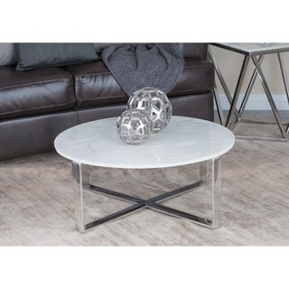 Studio 350 Stainless Steel Marble Coffee Table 31 inches wide, 18 inches high