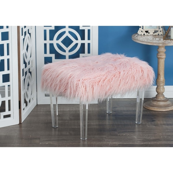 Shop Modern 17 X 16 Inch Pink Fur And Acrylic Footstool By