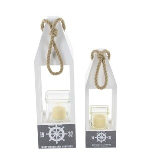 Studio 350 11-/15-in. Wood and Rope Candle Holders (Set of 2)
