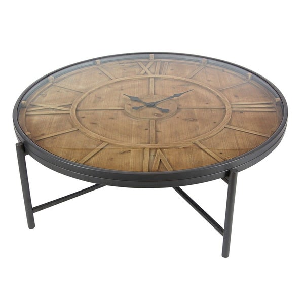 Studio 350 Metal Wood Clock Coffee Table 41 Inches Wide 14 High