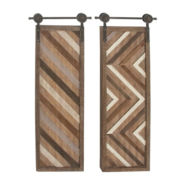 Studio 350 Wood Metal Wall Decor Set of 2, 16 inches wide, 39 inches high