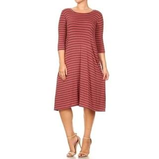 Women's Plus Size Striped Pattern Dress