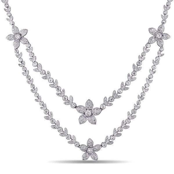 Miadora Signature Collection 18k Gold 5 1/3ct TDW Diamond Double Strand Necklace