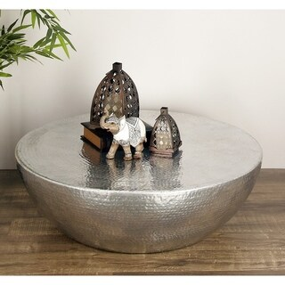 Contemporary 13 x 40 Inch Dome Aluminum Coffee Table by Studio 350