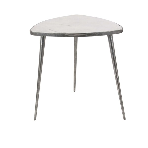 Studio 350 Aluminum Marble Accent Table 20 Inches Wide 21 High