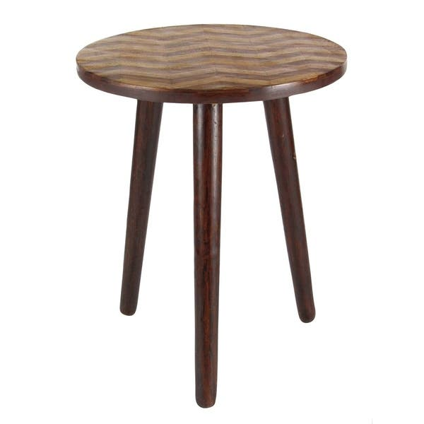 Modern 22 X 18 Inch Brown Round Wooden Accent Table By