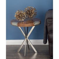 Studio 350 Teak Stainless Steel Side Table 20 inches wide, 22 inches high