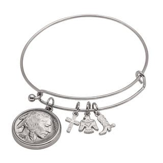 American Coin Treasures Western Charm Silver Tone Buffalo Nickel Obverse Coin Bangle Bracelet|https://ak1.ostkcdn.com/images/products/17245618/P23499666.jpg?impolicy=medium