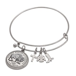 American Coin Treasures Western Charm Silver Tone Bison Nickel Coin Bangle Bracelet