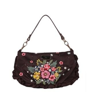 Nicole Lee Brown Embroidery Floral Design Mini Handbag