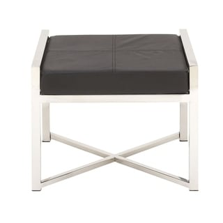 Studio 350 Stainless Steel Leather Stool 22 inches wide, 18 inches high