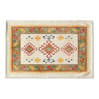 Kavka Designs Ivory/Green/Grey/Red Baize Ivory Flat Weave Bath mat (2' x 3')