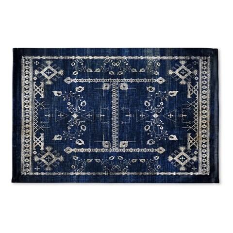 Kavka Designs Blue Annora Flat Weave Bath mat (2' x 3')