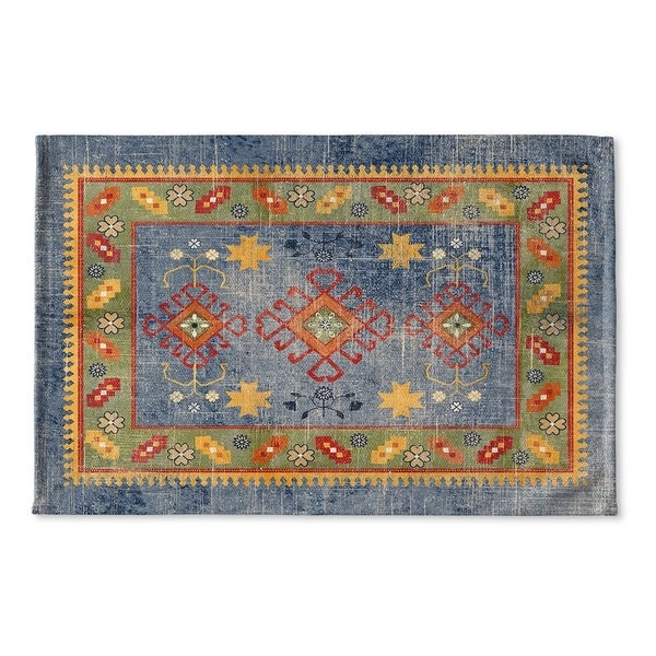 Kavka Designs Blue/Green/Yellow Baize Blue Flat Weave Bath mat (2' x 3') - 36 inches wide x 24 inches long x .25 inches thick