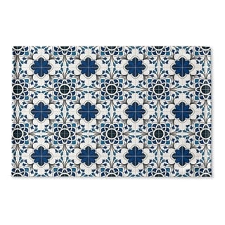 Kavka Designs Blue/White Truro Blue Flat Weave Bath mat (2' x 3')