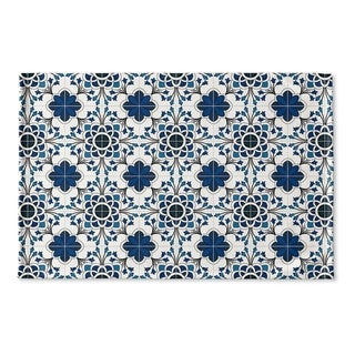 Kavka Designs Blue/White Truro Blue Flat Weave Bath mat (2' x 3')
