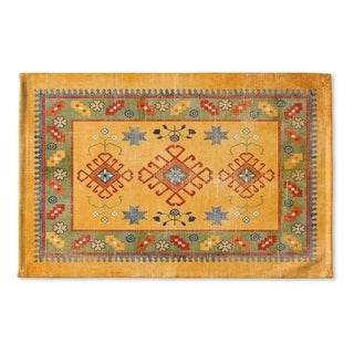 Kavka Designs Orange/Green/Red Baize Orange Flat Weave Bath mat (2' x 3')