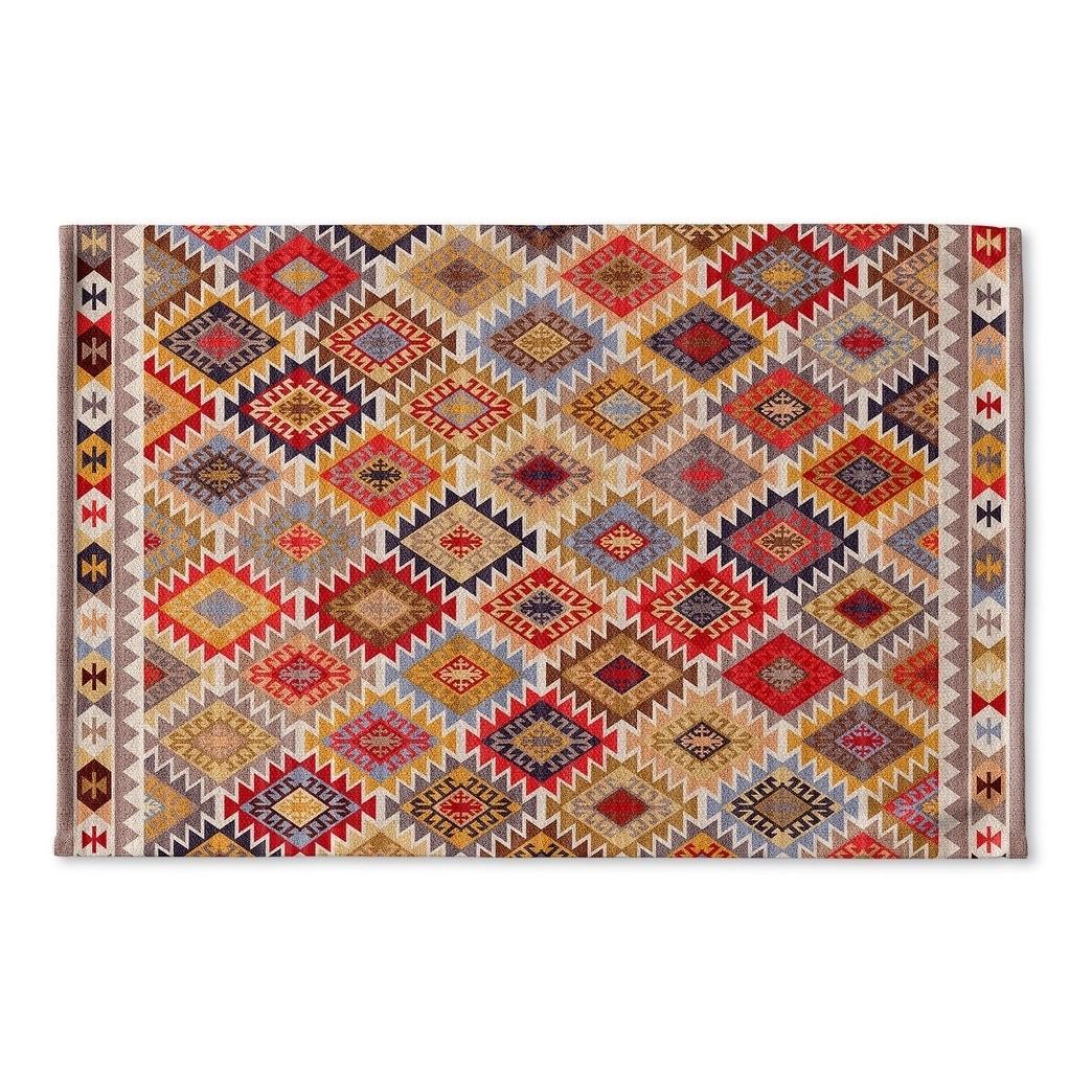 Kavka Designs Grey Red Yellow Gold Blue Temara Flat Weave Bath Mat 2 X 3 2x3 Overstock 17247015