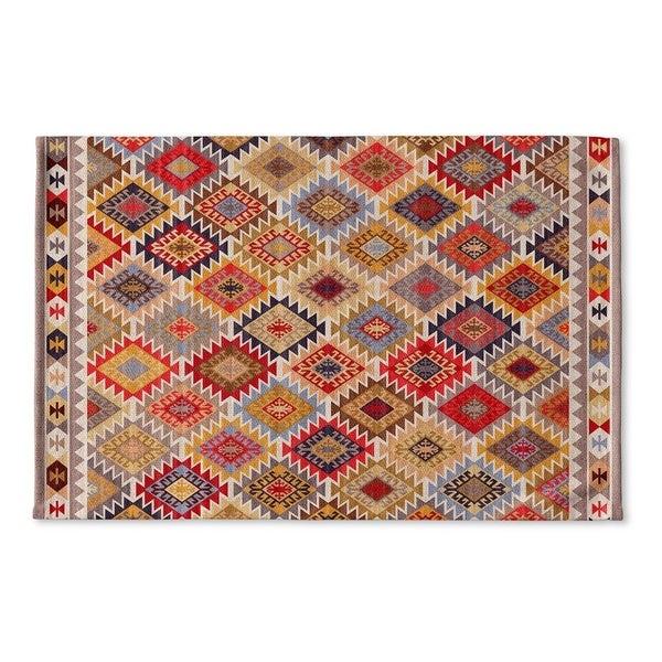 Kavka Designs Grey/Red/Yellow/Gold/Blue Temara Flat Weave Bath mat (2' x 3')