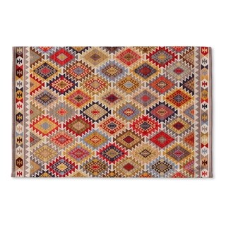 Kavka Designs Grey/Red/Yellow/Gold/Blue Temara Flat Weave Bath mat (2' x 3')