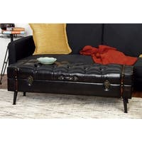 Set of 2 Farmhouse 48 and 51 Inch Storage Bench by Studio 350 - Black