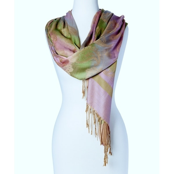Women's Appealing Rayon Blend Beautiful Long Scarf Wrap (Pink Yellow) … - Large