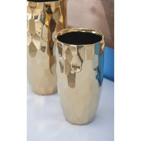 """Small Ceramic Electroplated Metallic Gold Vase 4"""" x 8"""""""