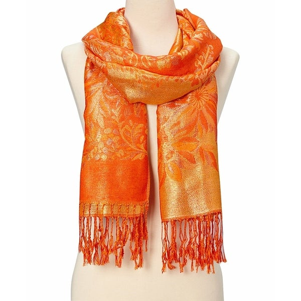 Beautiful Design Ladies Orange Silk Metallic Blend Soft Pashmina Scarf - Large