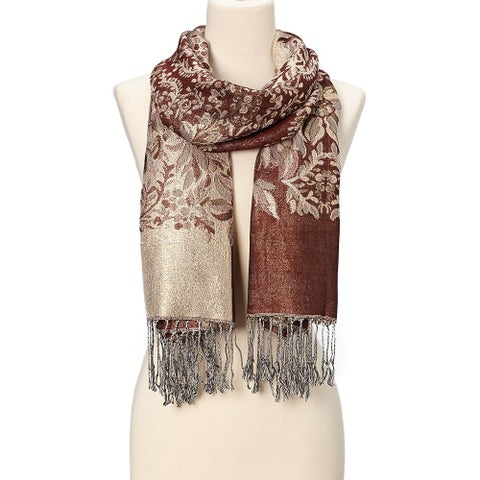 Luxury Design Ladies Raspberry Silk Metallic Blend soft Pashmina Scarf - Large