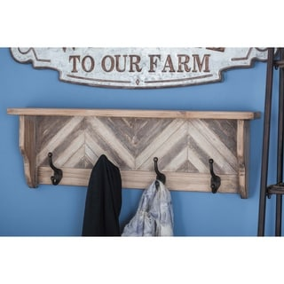 Farmhouse 10 x 32 Inch Wood and Metal Shelf Wall Hook by Studio 350