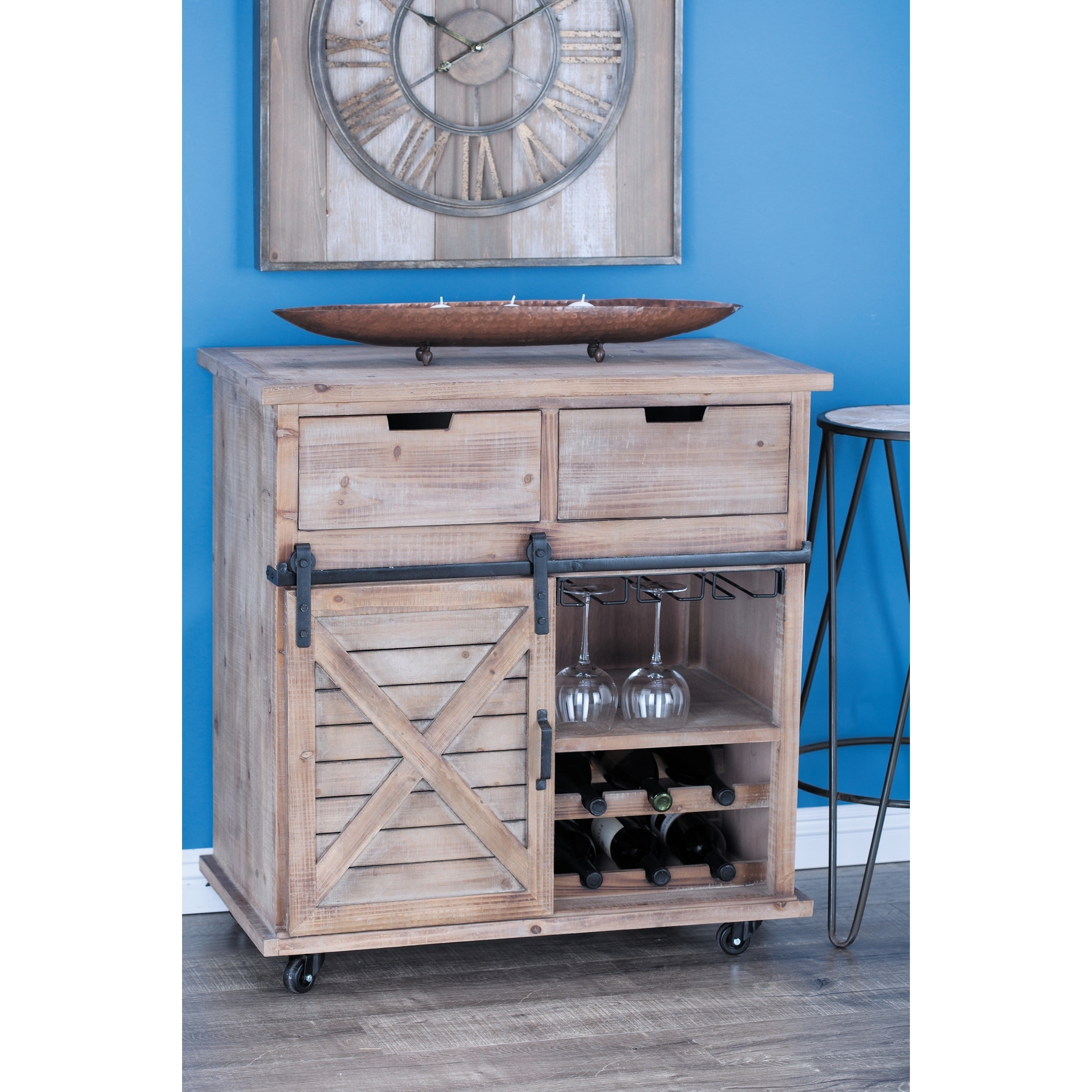 Studio 350 Wood Metal Storage Cabinet 33 inches wide, 34 inches