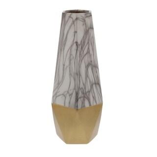 Studio 350 Ceramic White Gold Vase 7 inches wide, 18 inches high