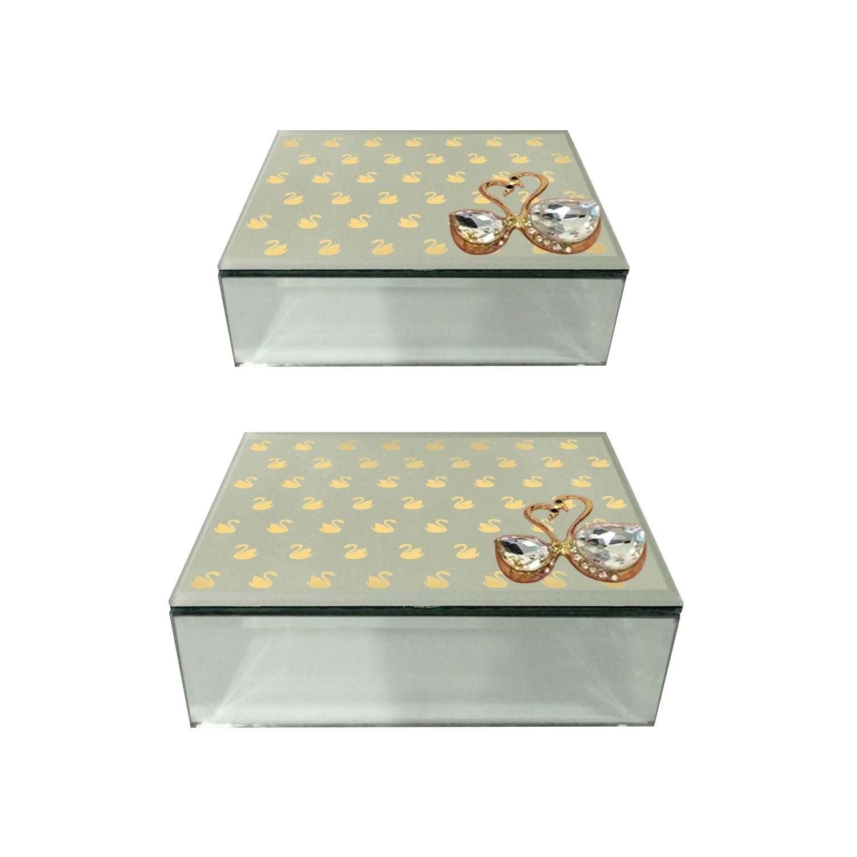 Studio 350 Wood Mirror Jewerly Box Set of 2