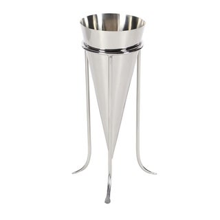 Studio 350 Stainless Steel Cone Vase 6 inches wide, 14 inches high