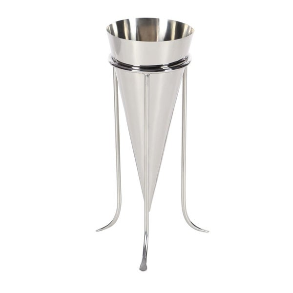Studio 350 Stainless Steel Cone Vase 6 Inches Wide 14 Inches High