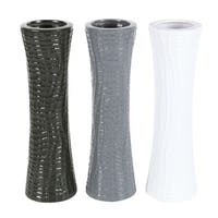 Studio 350 Ceramic Vase Set of 3, 5 inches wide, 18 inches high