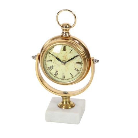 Copper Grove Chatfield Aluminum Marble Table Clock
