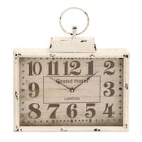Copper Grove Chatfield White Antique-finish Rectangular Metal Wall Clock